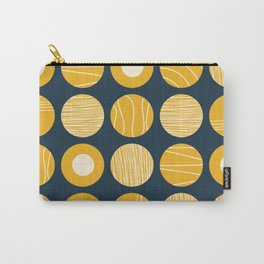 Kugeln - Minimalist Decorated Dot Pattern in Mustard Yellow and Navy Blue Carry-All Pouch