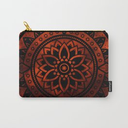 Burnt Orange & Black Patterned Flower Mandala Carry-All Pouch