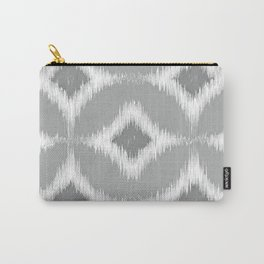 Elegant White Gray Retro Circles Squares Ikat Pattern Carry-All Pouch