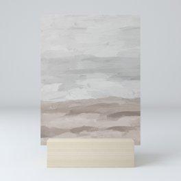 Gray Stormy Clouds Beige Sandy Beach Coastal Ocean Abstract Nature Painting Art Print Wall Decor  Mini Art Print