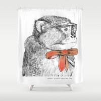 bow Shower Curtains featuring red bow by Mary Szulc