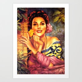 Jesus Helguera Painting of a Mexican Girl Beside Rattan Curtain Art Print