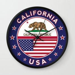 California, California t-shirt, California sticker, circle, California flag, white bg Wall Clock