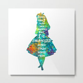 Alice In Wonderland - Quote - Colorful Watercolor White Text Metal Print