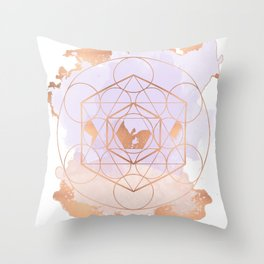 Light Me Up and Away - Copper Rose Gold Throw Pillow
