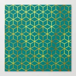 Teal and Gold Squares Canvas Print