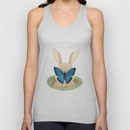 Butterfly resting on a bunny's nose Unisex Tank Top