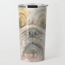 Bully ENGLISH BULLDOG FACE Dog portrait Watercolor painting  Cute Pet decor for Dog Lover Travel Mug
