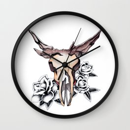 Bull Skull & Roses Boho Watercolor Wall Clock