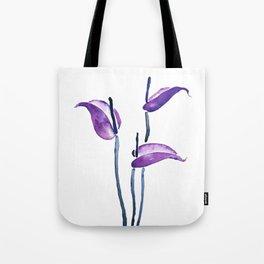 three purple flamingo flowers Tote Bag