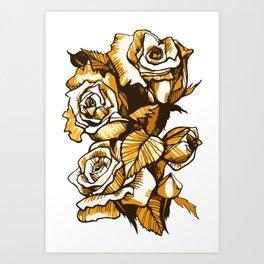 Vintage Roses, Summer Flowers Floral Sketch Ink Markers  Art Print