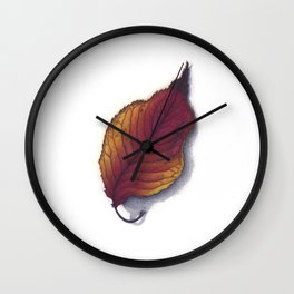 Cherry Leaf Watercolor Wall Clock