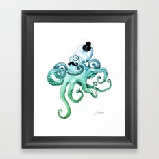 Monocle Octopus Framed Art Print