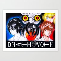 death note Art Prints featuring Death Note  by Amana HB