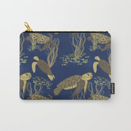 Sea Turtles and Seaweed - Navy Blue  Carry-All Pouch