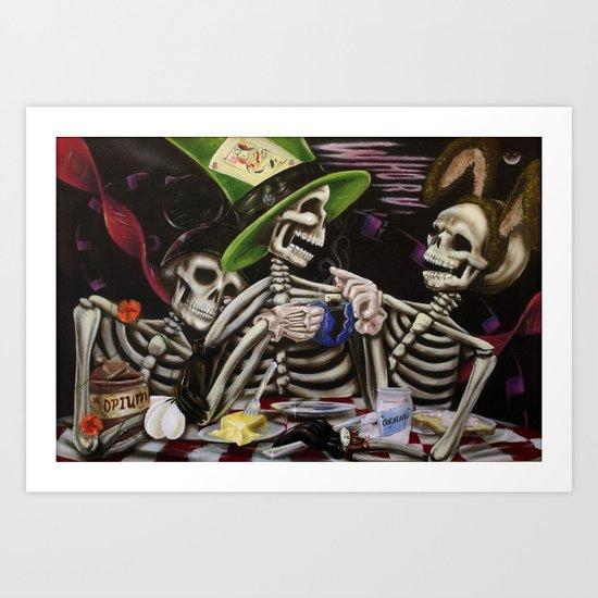 Skeleton Tea Party Art Print