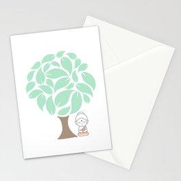 Little Buddha meditating under a tree Stationery Cards