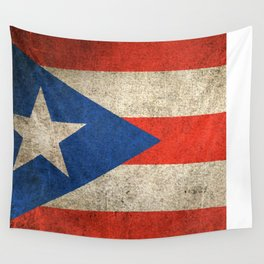 Old and Worn Distressed Vintage Flag of Puerto Rico Wall Tapestry