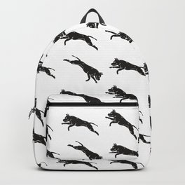 Jumping Dog With Leaves –black palette Backpack