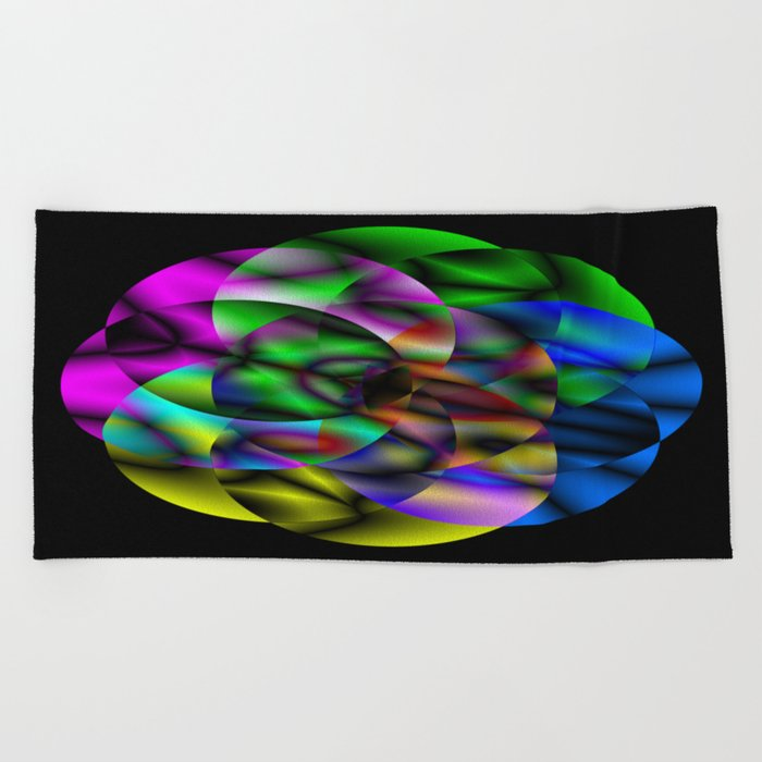 Concentric Vibrancy - Abstract, neon, geometry artwork Beach Towel