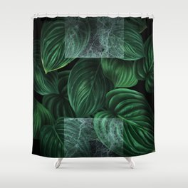 tropical green pattern on black Shower Curtain