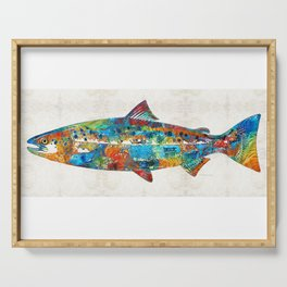Fish Art Print - Colorful Salmon - By Sharon Cummings Serving Tray