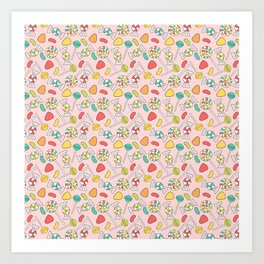 Colorful Doodle Candy Pattern - Pink, Blue, Green, Red Art Print