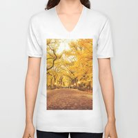 literary V-neck T-shirts featuring New York City Autumn by Vivienne Gucwa