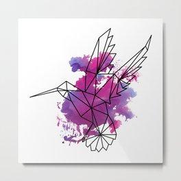 Geometric hummingbird Metal Print