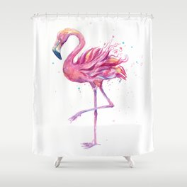 Fancy Pink Flamingo Shower Curtain