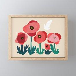 Poppy flowers and bird Framed Mini Art Print