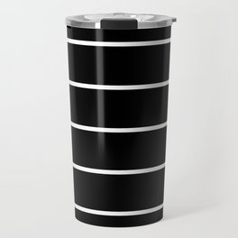 Black White Pinstripes Minimalist Travel Mug
