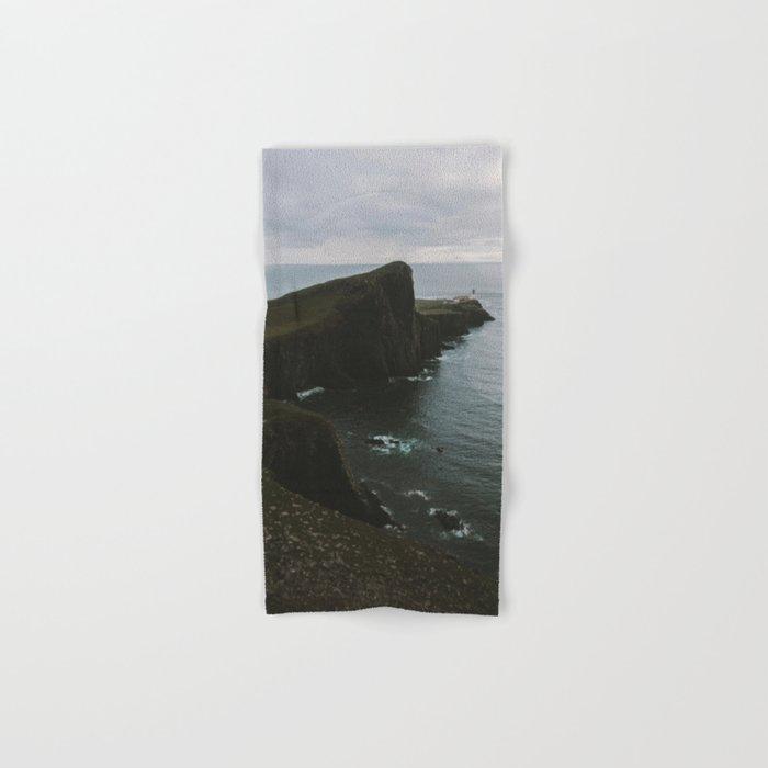 Neist Point Lighthouse at the Atlantic Ocean - Landscape Photography Hand & Bath Towel