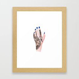 Modern watercolor hand  floral henna tattoo blue nails Framed Art Print