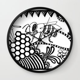 Bee black and white doodle drawing Wall Clock