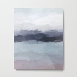 Plum Purple Navy Indigo Ocean Sky Blue Waves Sunset Abstract Nature Painting Art Print Wall Decor  Metal Print