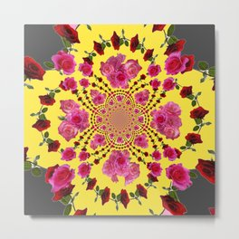 modern art cerise pink & yellow Metal Print