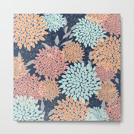 Floral Prints and Leaves, Coral, Navy Blue, Peach, Gray, Aqua Metal Print
