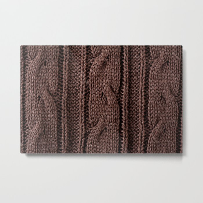 Brown braid jersey cloth texture abstract Metal Print