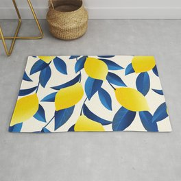 Yellow Limons and Blue Leaves Rug
