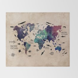 Oceans Life World Map #map #worldmap Throw Blanket