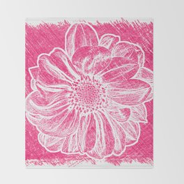 White Flower On Pink Crayon Throw Blanket
