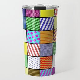 Retro Patchwork - Abstract, geometric, patterned design Travel Mug
