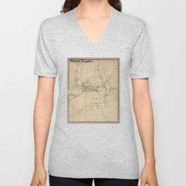 Vintage Map of White Plains NY (1867) Unisex V-Neck
