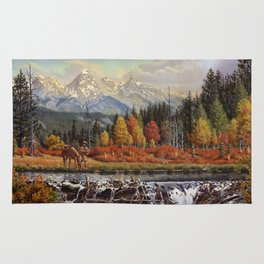 Mountain Man And Beaver Dam, Western, Frontier Mountain Landscape Rug