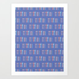 Spoon, Fork, Knife Vector Cutlery Pattern Blue Art Print