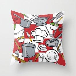 Kitchen Tools Check Throw Pillow