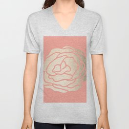Rose White Gold Sands on Salmon Pink Unisex V-Neck