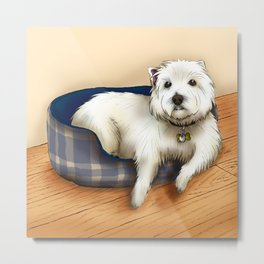 Dexter the Westie in His Doggie Bed Metal Print