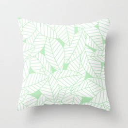 Leaves in Wintergreen Throw Pillow